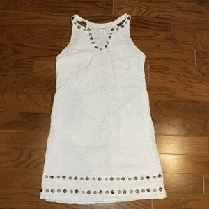 Cato white crochet dress with jewels